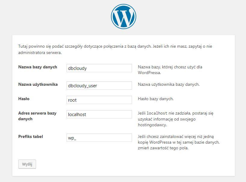 Wordpress - konfiguracja połączenia z bazą danych