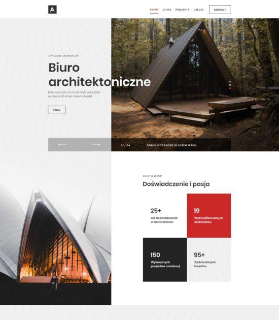 Strona www biura architektonicznego - widok strony głównej