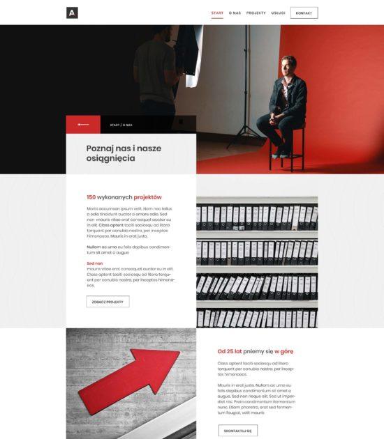 Strona www biura architektonicznego - widok podstrony o nas