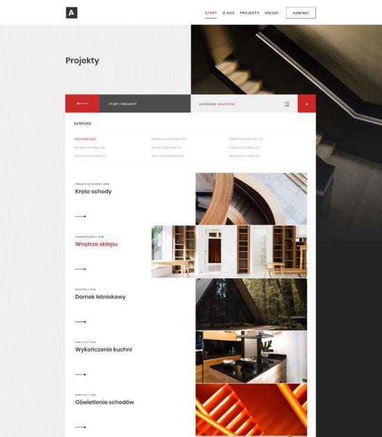 Strona www biura architektonicznego - widok portfolio
