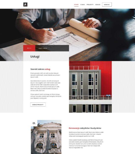 Strona www biura architektonicznego - widok podstrony z usługami