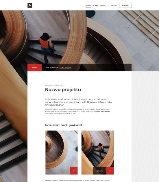 Strona www biura architektonicznego - widok pojedynczego wpisu