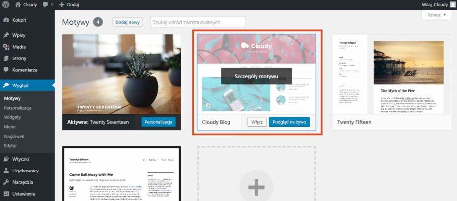 Aktywacja motywu do WordPress w paneu administratora