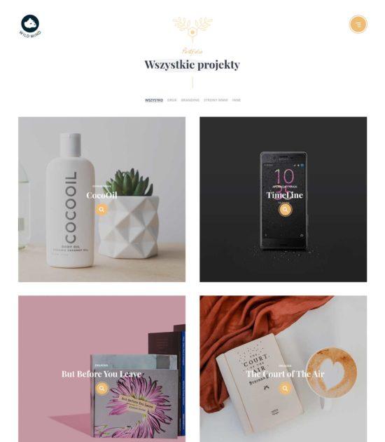 Strona internetowa typu portfolio - widok portfolio